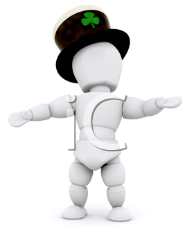 3D Man celebrating St Patrick's Day isolated