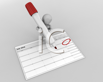 3D render of a man with marker marking the date on a calender