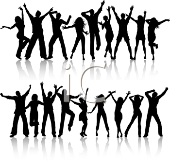 Silhouettes of people dancing on white background