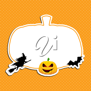 Halloween background with witch, pumpkin and bat
