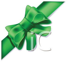 Royalty Free Clipart Image of a Green Bow