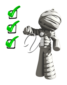 Mummy or Personal Injury Concept Standing Beside Checklist