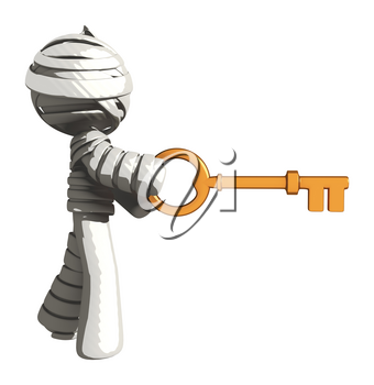 Mummy or Personal Injury Concept Opening an Invisible Lock with Large Key
