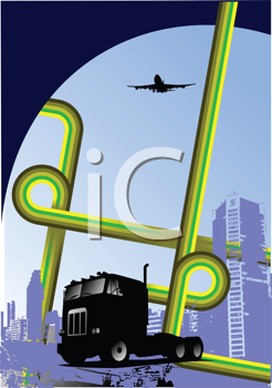 Royalty Free Clipart Image of a Truck in an Urban Centre With a Plane Overhead