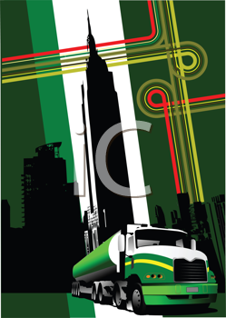 Royalty Free Clipart Image of a Truck In Front of a City Landscape