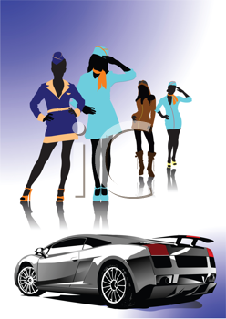 Royalty Free Clipart Image of Stylish Girls and a Luxury Car