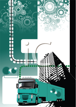 Royalty Free Clipart Image of a Green Background With Swirls at the Top and a Truck and a Building at the Bottom