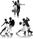 Royalty Free Clipart Image of Three Pairs of Dancers