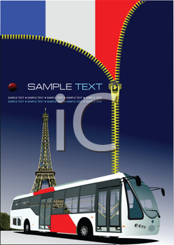 Royalty Free Clipart Image of a Zipper Opening on a French Flag With the Eiffel Tower and a Bus at the Bottom