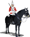 Royalty Free Clipart Image of a London Guard on a Horse