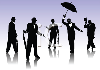 Royalty Free Clipart Image of a Men With Umbrellas
