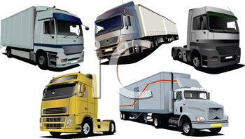 Royalty Free Clipart Image of Five Trucks