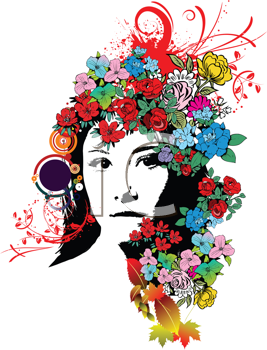 Royalty Free Clipart Image of a Flower Girl