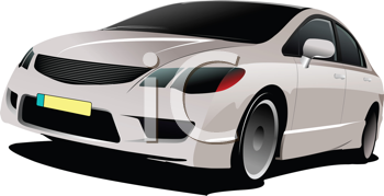 Royalty Free Clipart Image of a Grey Car