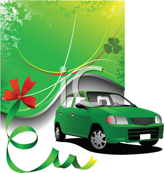 Green background and green car sedan on the road. Vector illustration