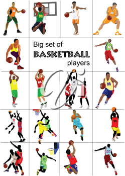 Big set of Basketball players. Vector illustration