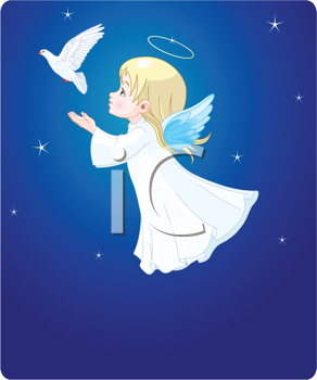Royalty Free Clipart Image of a Cute Angel With a Dove