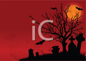 Royalty Free Clipart Image of a Halloween Cemetery in the Night
