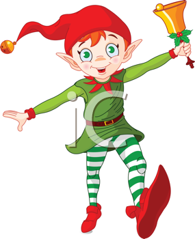 Royalty Free Clipart Image of an Elf Jumping and Ringing a Bell