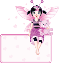 Royalty Free Clipart Image of a Fairy Sitting on a Place Card With a Teddy Bear