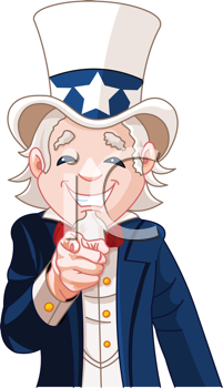 Royalty Free Clipart Image of Uncle Sam Pointing