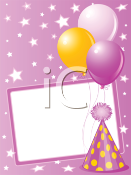 Royalty Free Clipart Image of a Pink Birthday Card With a Hat and Balloons