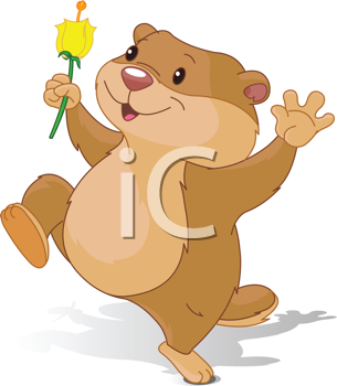 Illustration of Groundhog dancing with first flower for Groundhog Day