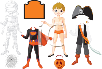 Pointing Paper Boy with three costumes for Halloween Party;