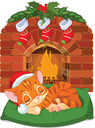 Royalty Free Clipart Image of a Kitten Sleeping in Front of a Fireplace