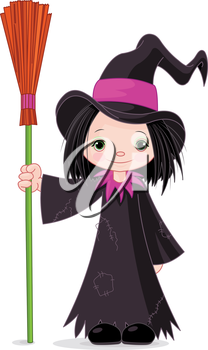 Halloween Witch holds broom