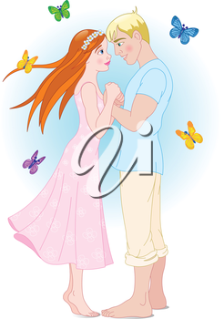 Illustration couple and butterflies