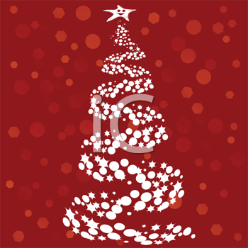 Royalty Free Clipart Image of a Christmas Tree on a Red Background