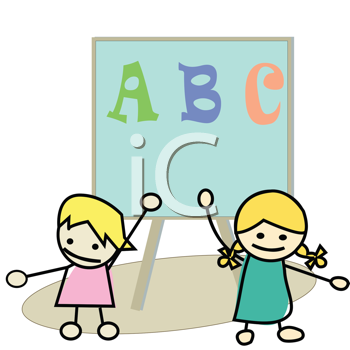 Royalty Free Clipart Image of Two Children at a Blackboard With ABC on It