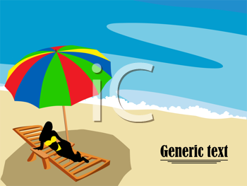 Lounge chair and umbrella on the beach