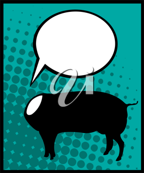 Conceptual comic style graphic of a headless pig and speech bubble
