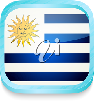 Smart phone button with Uruguay flag