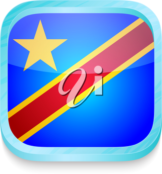 Smart phone button with Democratic Republic of Congo flag
