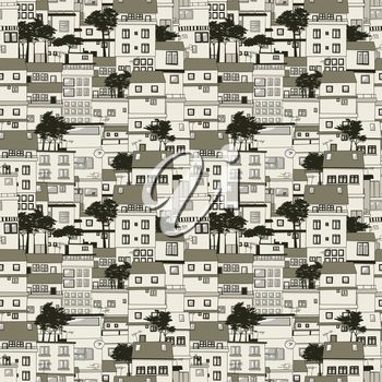 Old houses seamless texture pattern