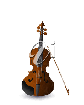 Watercolor violin and bow over white background