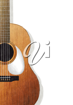 Watercolor acoustic guitar ocer white background