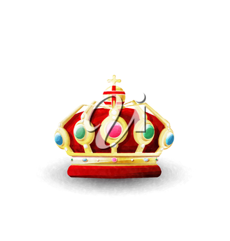 Watercolor king crown over white background