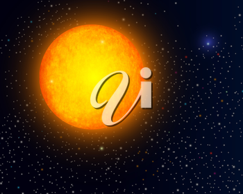 The Sun in space, abstract background