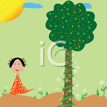 Royalty Free Clipart Image of a Little Girl Flowers and a Tree