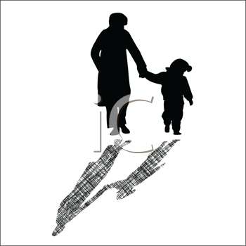 Royalty Free Clipart Image of a Woman and Child in Winter Clothes Walking Hand in Hand