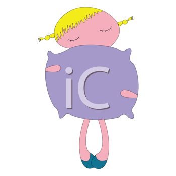 Royalty Free Clipart Image of a Little Girl With a Purple Pillow