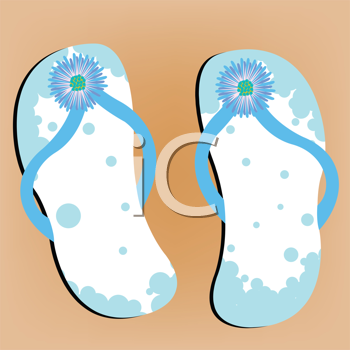 Royalty Free Clipart Image of Flip Flops on a Sandy Beach