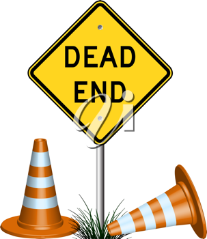 dead end sign with cones and grass, abstract vector art illustration