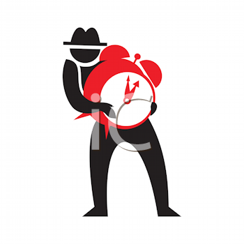 Royalty Free Clipart Image of a Man With an Alarm Clock