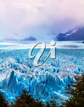 The concept of active and extreme tourism. The spectacular glacier Perito Moreno, located in the national park of Los Glaciares in Patagonia