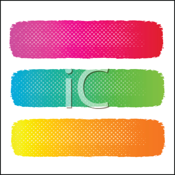 Royalty Free Clipart Image of Three Halftone Banners in Pink Green and Gold